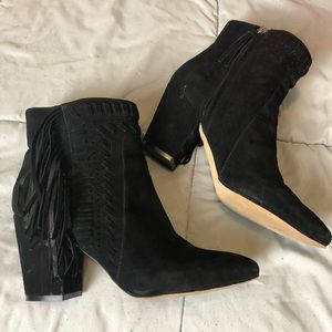 Rebecca Minkoff Black Ilan Fringed suede booties